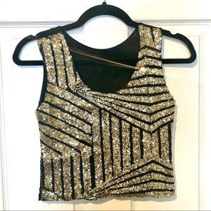Tops - Gold/Black Sequin Crop Top